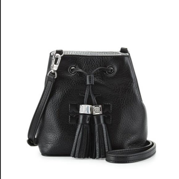 7e49e4213e47 Tory Burch Thea Mini Bucket Cross Body Bag Black. M 5c49f5f5c89e1d19233eb42f